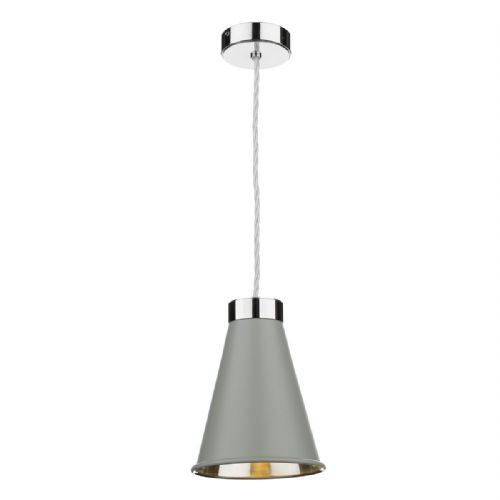 Hyde 1 Light Pendant Chrome + Powder Grey Metal Shade HYD0139C (7-10 day Delivery)